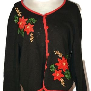 Poinsettia Ugly but Cute Christmas Sweater L